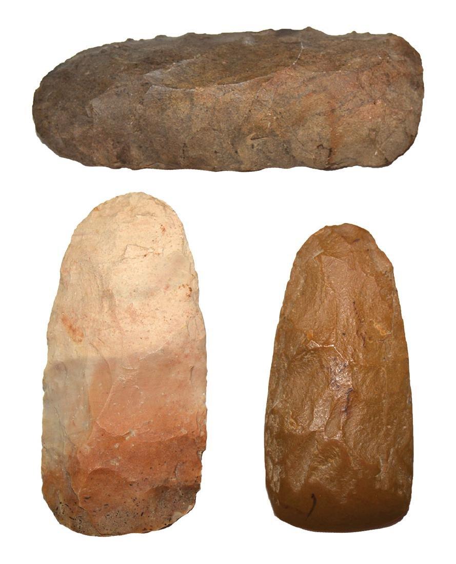 """3 Flint Celts.  3 1/2""""-4 1/2"""".  Stewart Co, TN.  Very"""