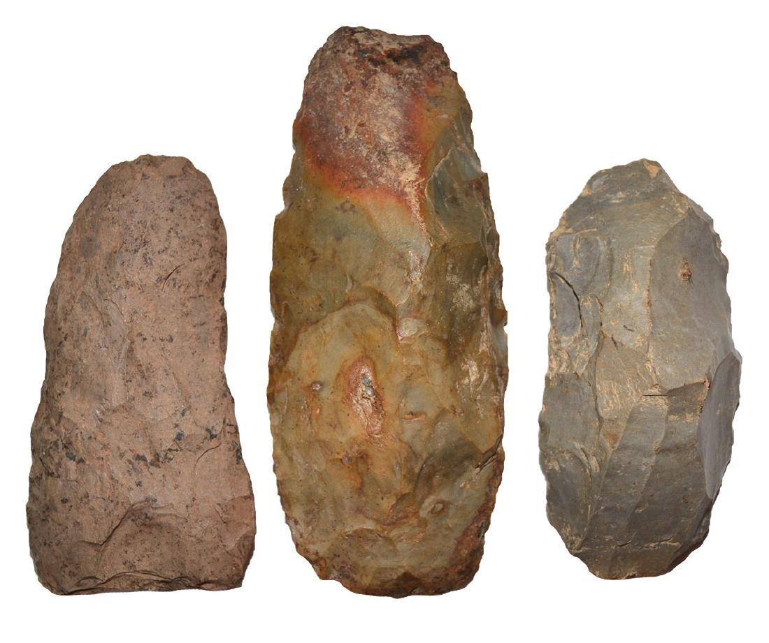 3 TN Flint Tools:  Colorful Flint Adz, Hornstone Humped