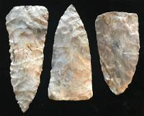 Cache of 3 Cobbs Triangular Blades. Benton Co, MO.