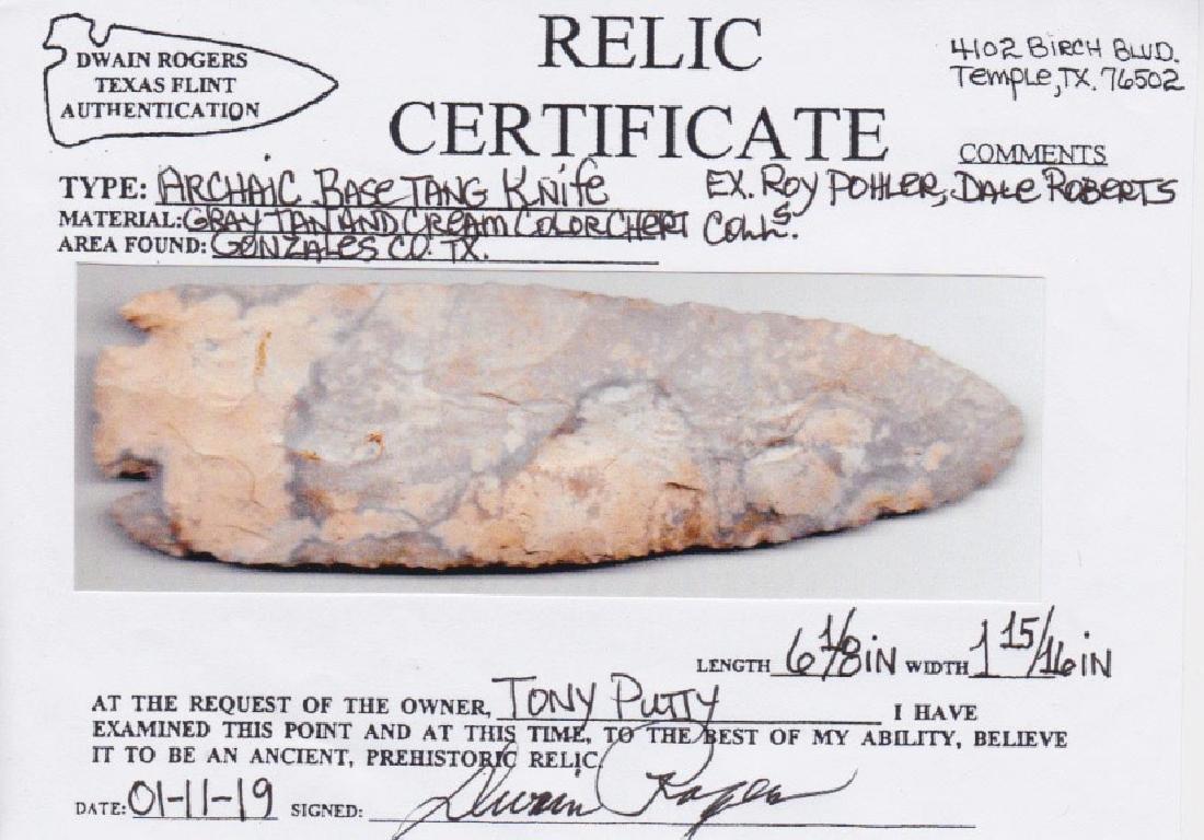"6 1/8"" Archaic Base Tang Knife.  Rogers COA.  Ex-Dale - 3"