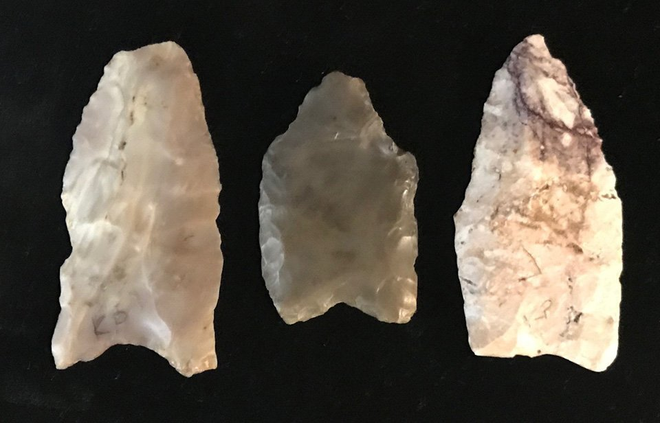 3 Clovis Points that show  geographic reach of Paleo