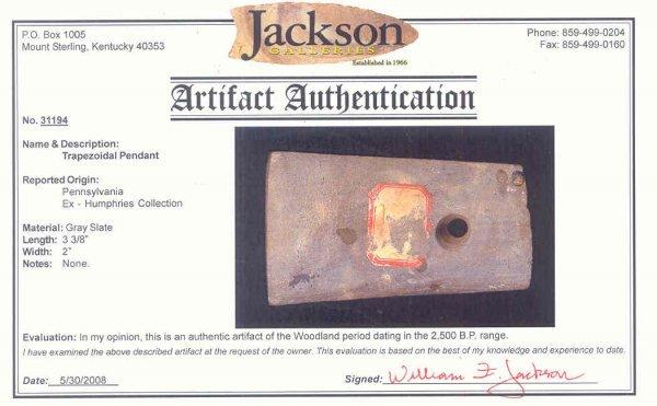 "34: 34. 3 3/8"" Trapezoid Pendant.  PA.  Jackson COA.  S - 3"