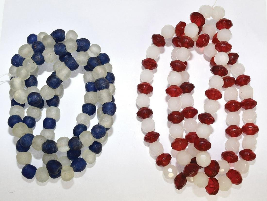 """Two 38"""" Glass Bead Trade Bead Necklace.  One later"""