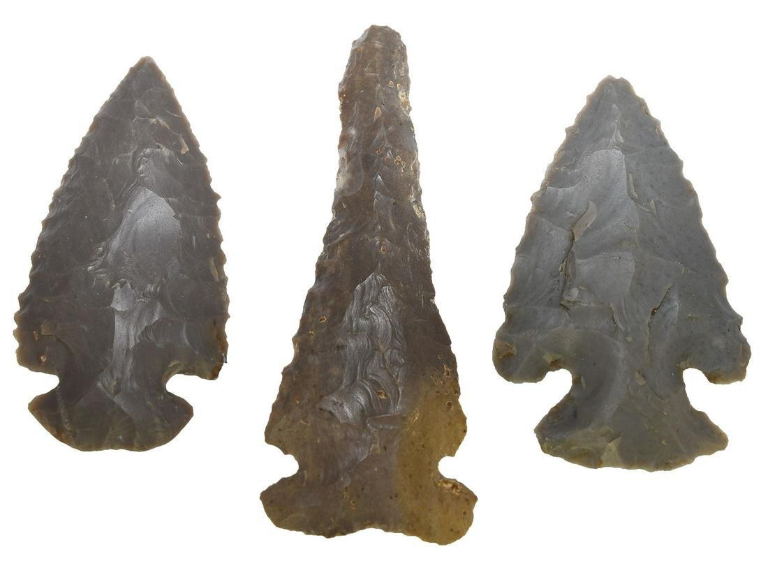 3 Fine Early Archaic Points from the Dr. Gish