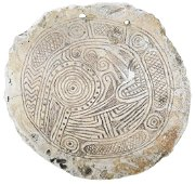 """5 1/2"""" Rattlesnake Shell Gorget.    Pictured in WW#4."""