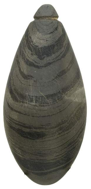 """2 1/2"""" Grooved Plummet. Adams Co, IL. Polished banded"""