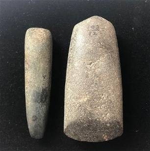 """4 1/2"""" Chisel and 5"""" Celt. Madison Co, IL. Both in"""