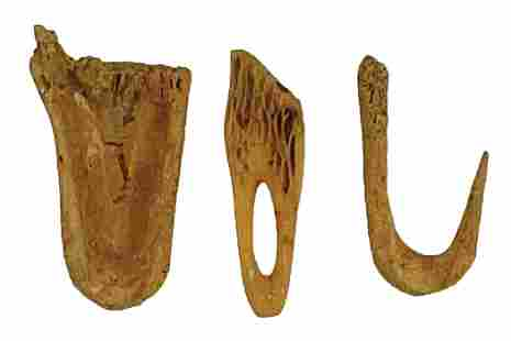 2 Fishhooks and 1 Deer toe bone Fishhook. Ex-Ed