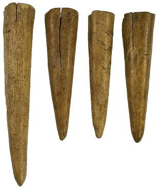 Group of 4 fine Deer Antler Projectile Points. Found
