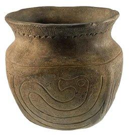 "5 3/8"" H. Hopewell Engraved Jar.  FB Henry Shetrone"
