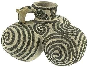 """5 1/2"""" Anasazi Snowflake Tri-Lobe Jar with Dog Head"""
