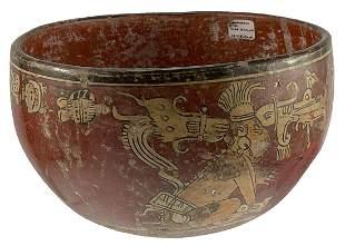"7 1/8"" D. Mayan Glyph Bowl. Guatemala. Chieftain on"