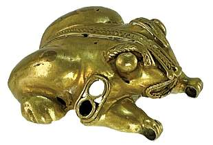 """1 5/16"""" Tairona Frog Pendant. Provenance and gold"""