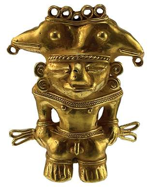 "3 1/2"" Tairona Male Effigy Pendant. Gold content"