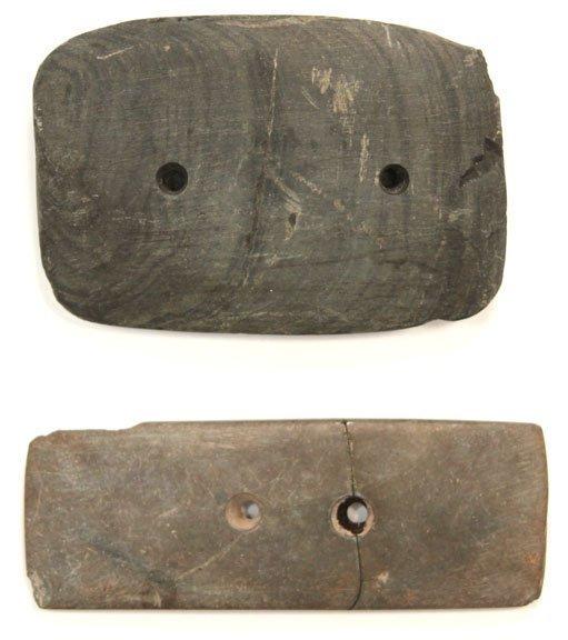 "24: Two 3 1/4""-3 5/8"" Gorgets.  Found by Bill Marlott"