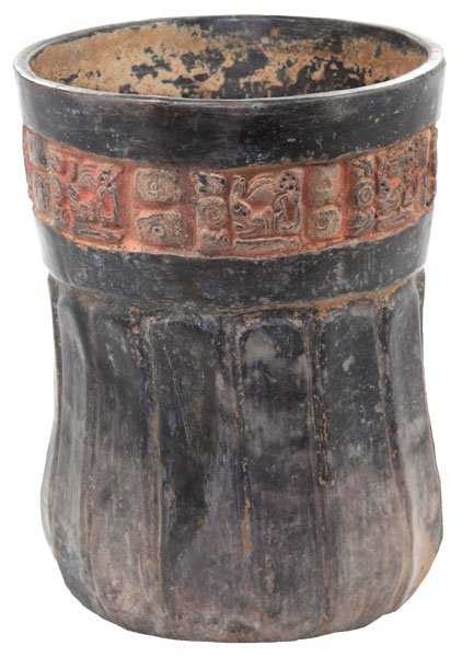 92 Late Mayan Vase Scalloped With Glyphs
