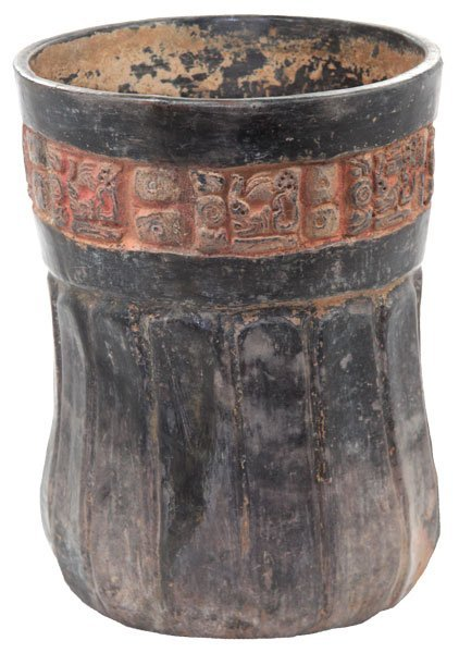 92: Late Mayan Vase.   Scalloped with Glyphs