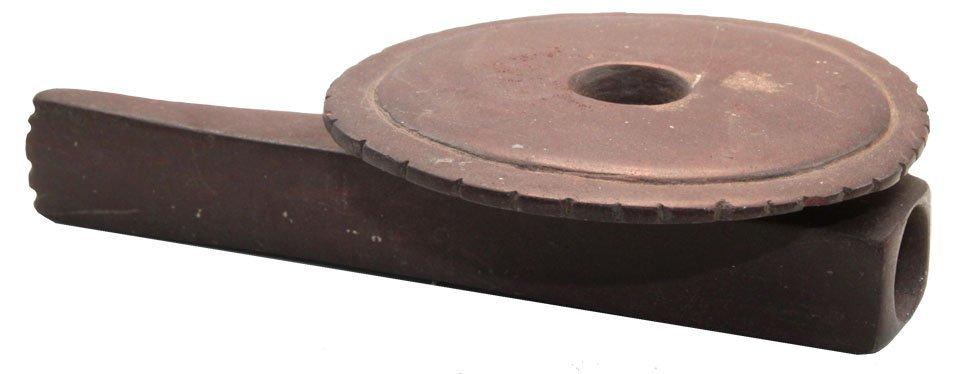 """4 5/8"""" Historic Disk Pipe.  IL.  Brown Catlinite."""