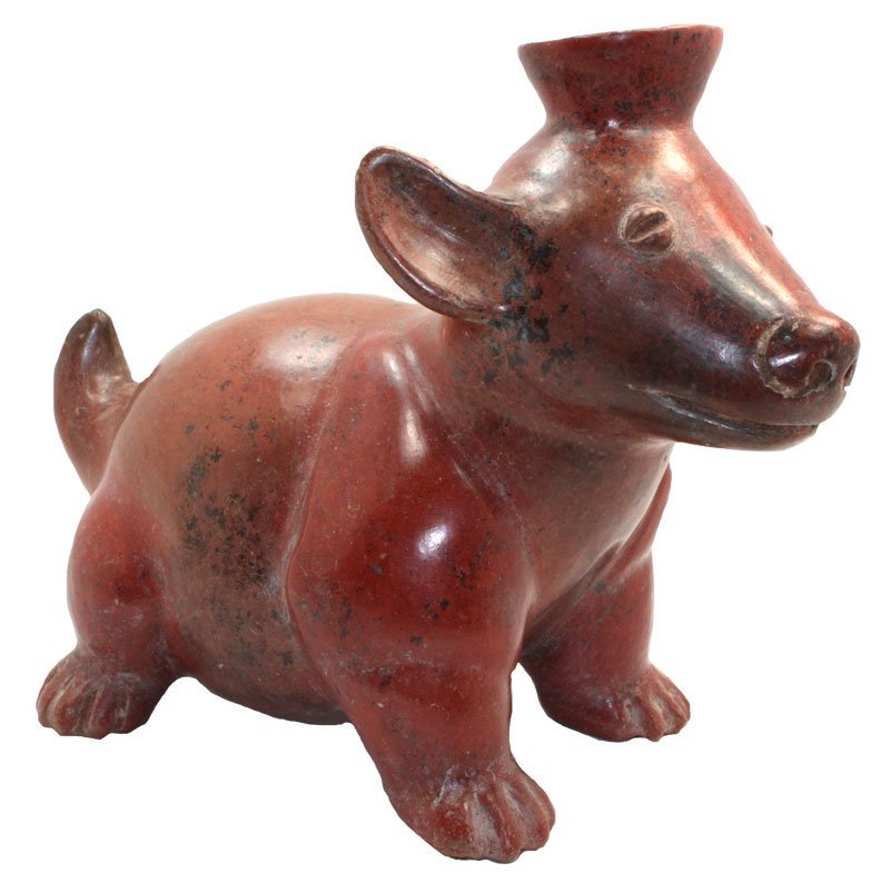 """Wonderful 11"""" L. Colima Dog Effigy.  250 BC-250 AD"""
