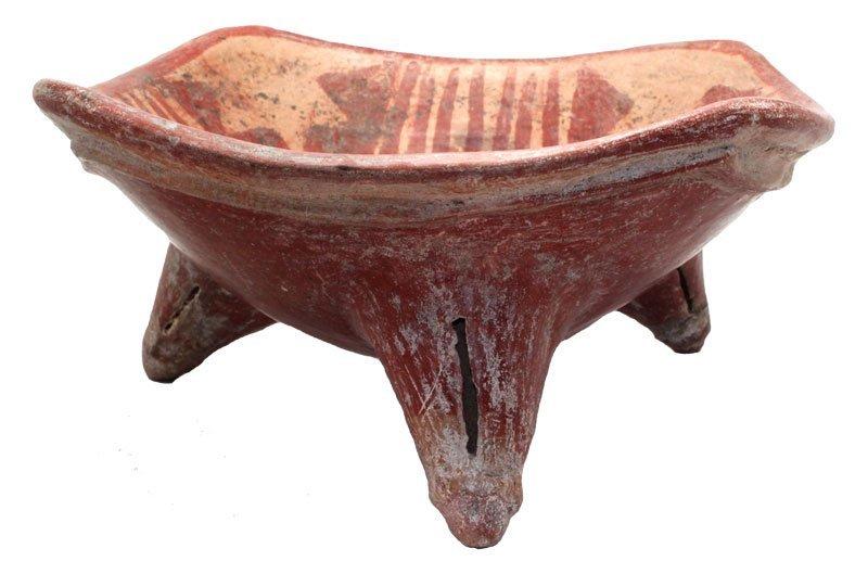 "8 1/4""D.  Rectangular Tripod bowl. Nayarit, MX. Painted"