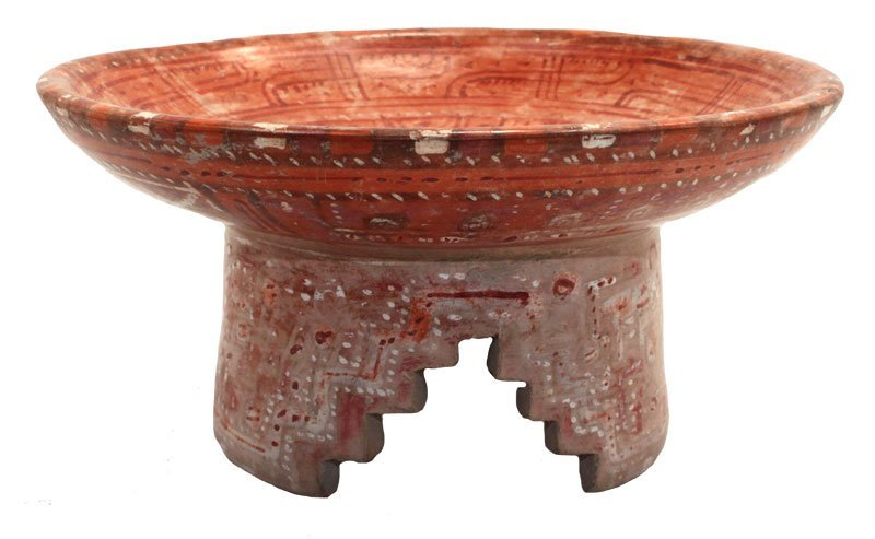 """7"""" D.  Tripod molcajete with red-on-light-red lines on"""