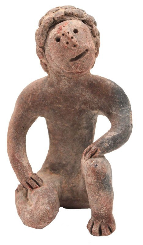 """3 5/8"""" Very finely modeled clay human figurine,"""