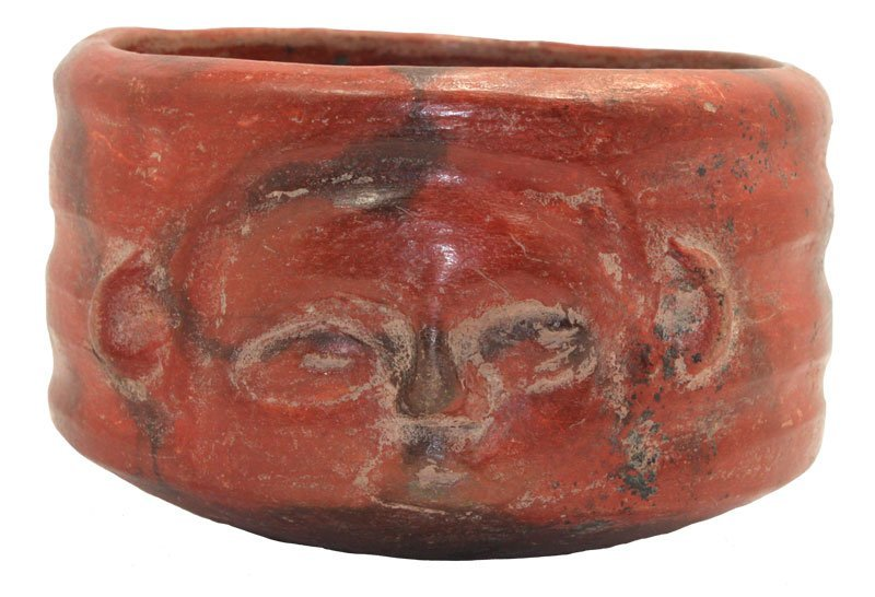 """4 7/16"""" Redware Bowl with horizontal rings and a face"""