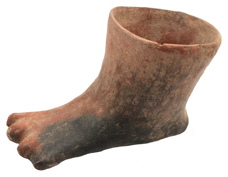 "6 1/2"" H.  Brownware Foot Effigy  vessel in shape of a"