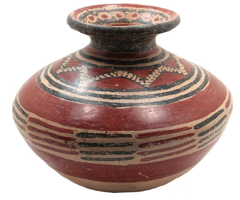 "8 1/4"" Painted Jar.  Red and black desgins on red on"