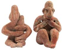 2 Sitting Clay Figures  Largest 2 34  Colima