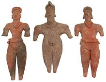 3 Solid Clay Figures  Largest  7 38  Colima  MX