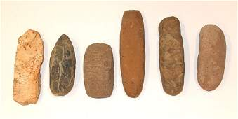 """Group of 6 Stone Implements/Tools. Longest 10""""."""