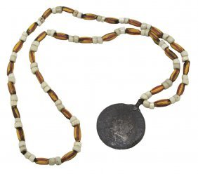 """32"""" Bead Necklace With George Ii Indian Peace Medal"""