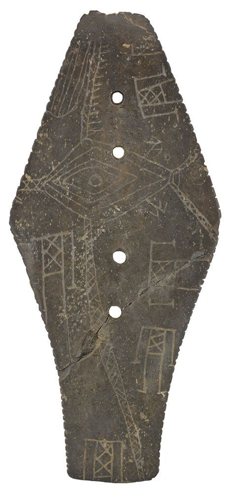 "6 7/8"" Coffin Gorget.  OH.  Engraved with 5 humans and"