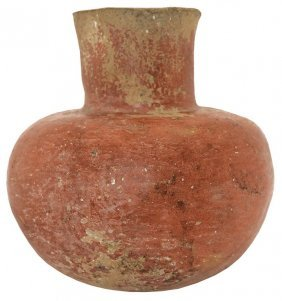 "7 1/4"" H. Old Town Red Jar. Mississippi Co, Ar."