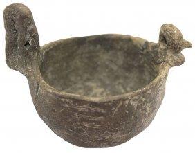 "Miniature 4"" D. Cat Serpent Bowl. Mo. Broken, Glued."