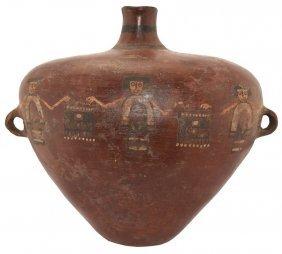 """6 1/2"""" H. Inca Bottle. Peru (circa 1500 Ad). Artistic"""
