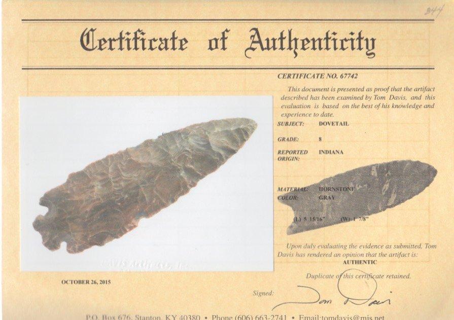 """5 15/16"""" Dovetail. Hornstone.  Davis G8 COA.  Large, - 3"""