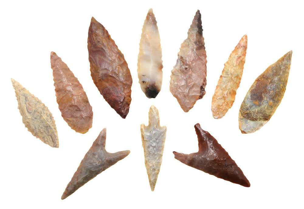"10 large and fine African Points (1 7/8""-2 1/4"")."