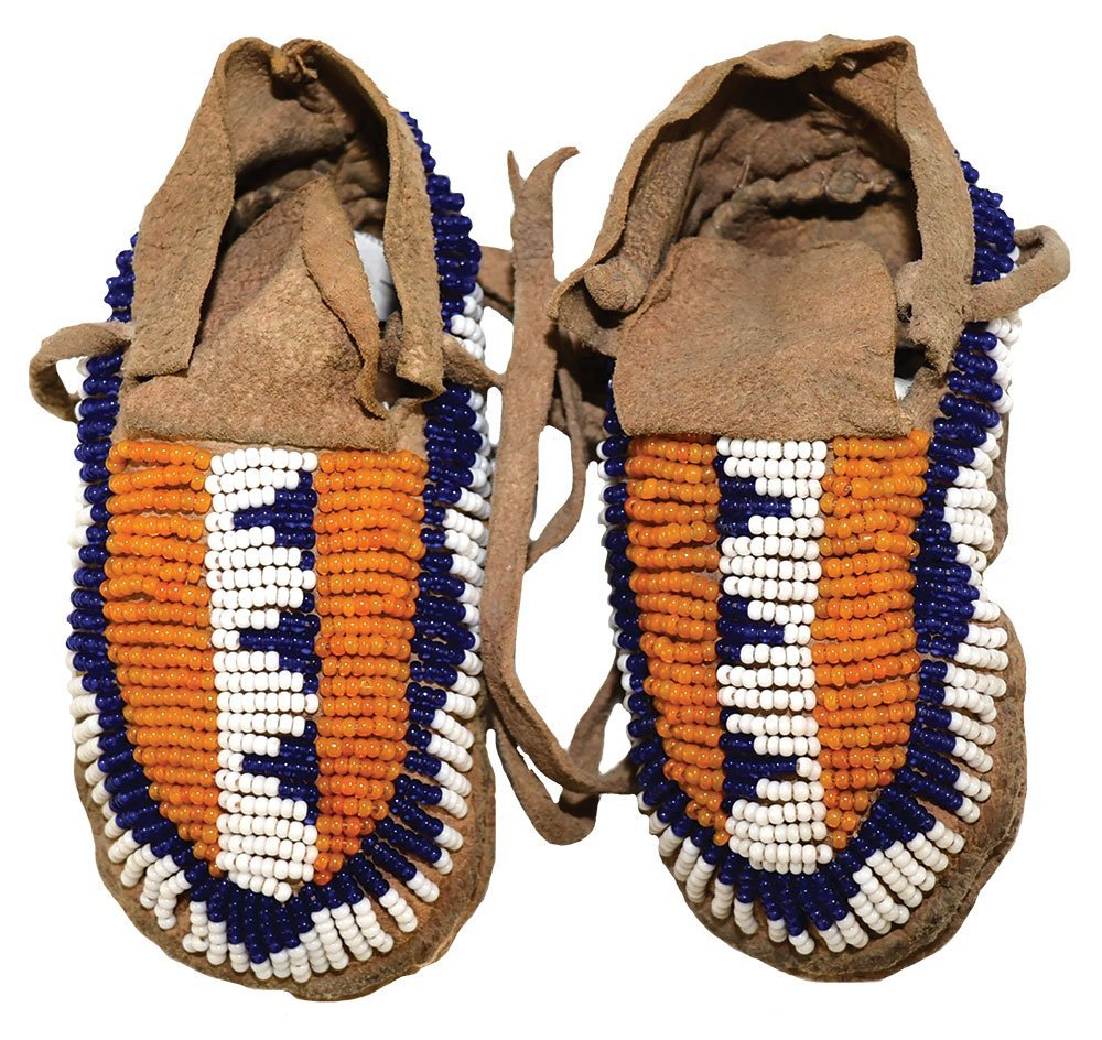 """4 1/2"""" Sioux s Infant Moccasins. Well beaded.  Early"""