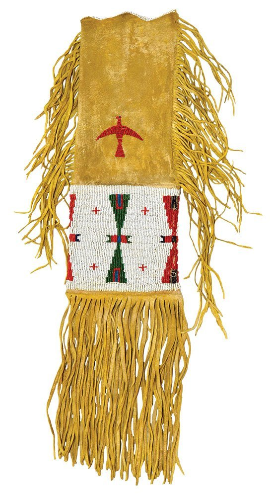 """20"""" (with fringe) Sioux  Beaded Pipe Bag.   Early"""