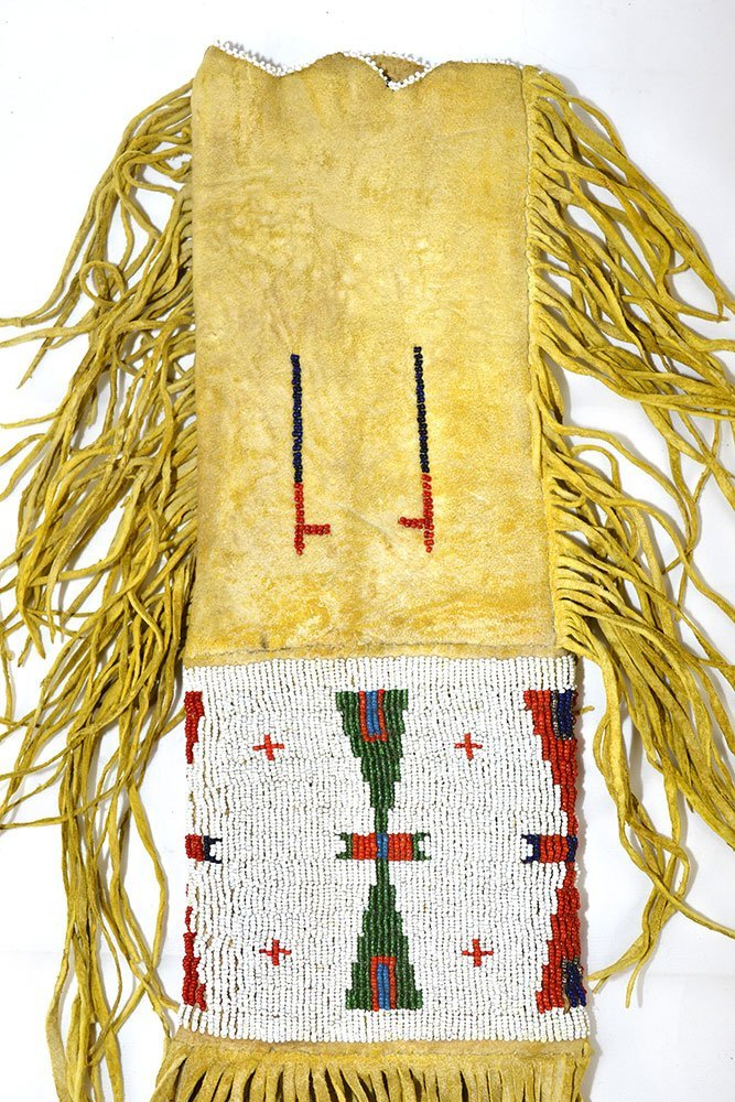 "20"" (with fringe) Sioux  Beaded Pipe Bag.   Early - 3"