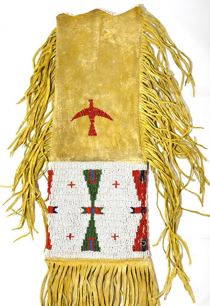 "20"" (with fringe) Sioux  Beaded Pipe Bag.   Early - 4"