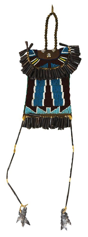 """7 1/2"""" Beaded Bag with Tinklers.  Historic example in"""