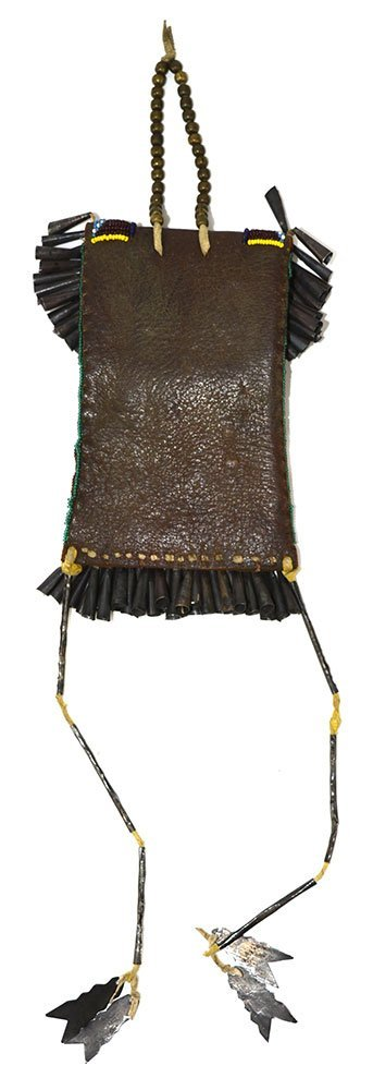 """7 1/2"""" Beaded Bag with Tinklers.  Historic example in - 2"""