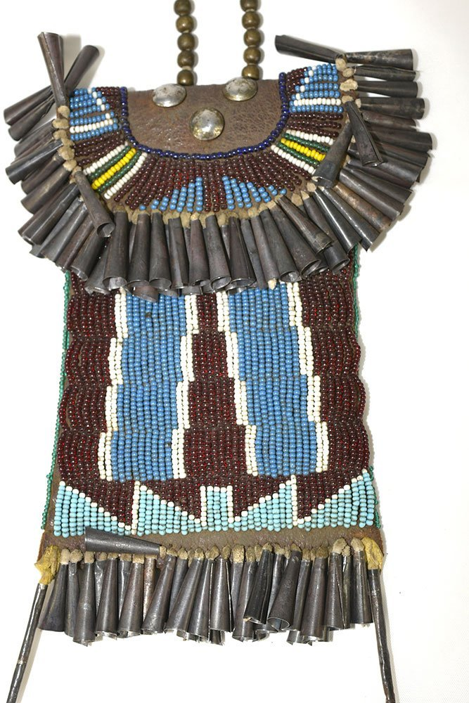 """7 1/2"""" Beaded Bag with Tinklers.  Historic example in - 3"""