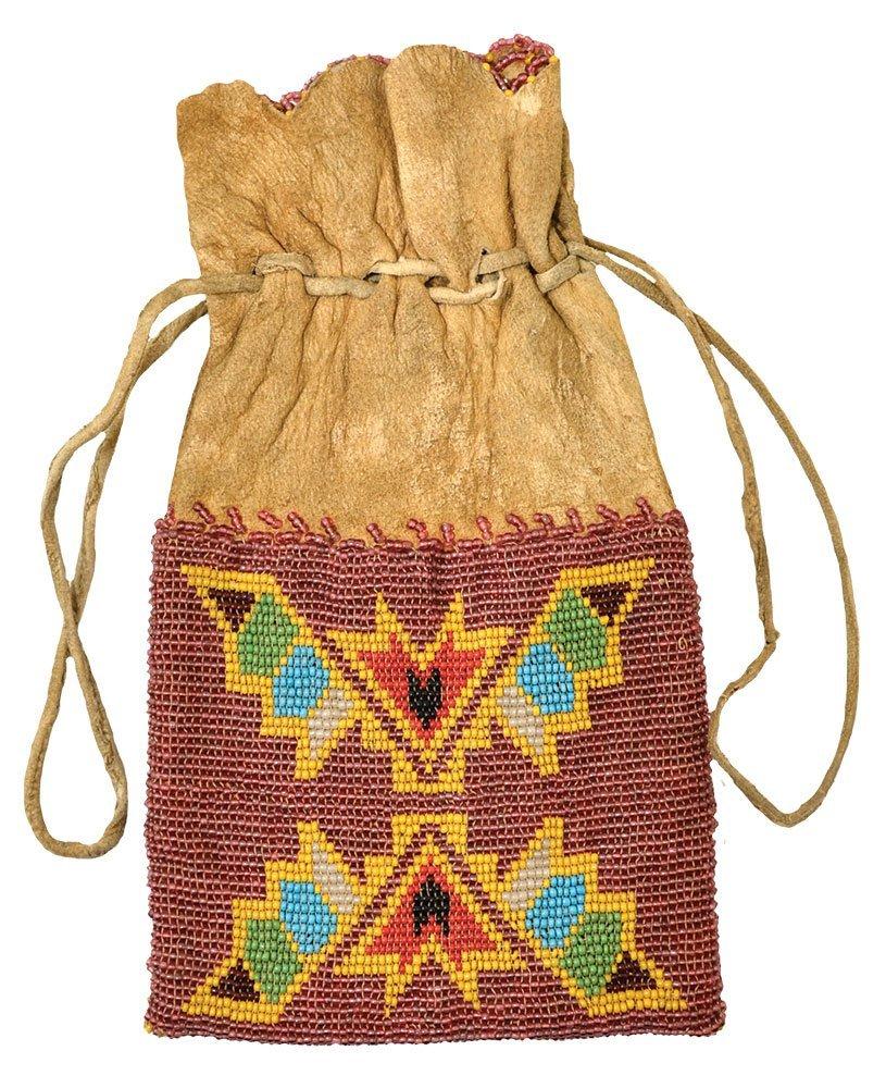 "8 1/2"" Drawsting Native American Cherokee Beaded Bag."