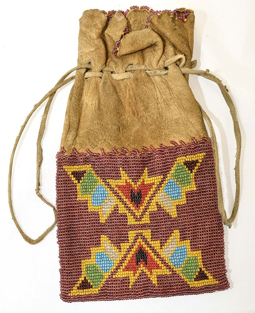 "8 1/2"" Drawsting Native American Cherokee Beaded Bag. - 2"