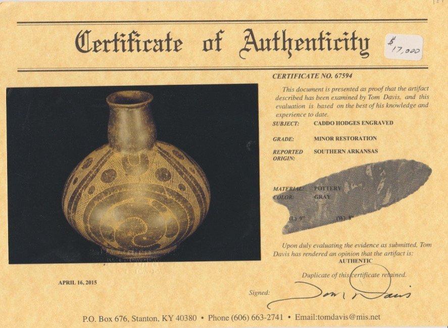 """Large (9"""" H.) Caddo Hodges Engraved Bottle.  AR.  Davis - 4"""