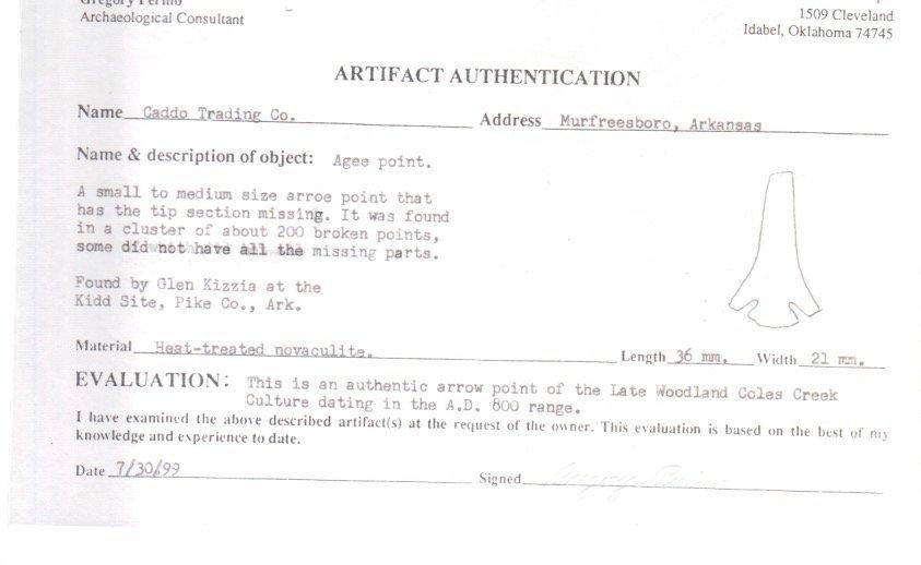 "1 3/4"" Glen Kizzia Agee.  Kidd Site.  Tip restored. - 3"